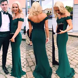 Discount jackets wear evening gowns - Hunter Green Off Shoulder Mermaid Prom Dresses Lace Top Zipper Back Satin Evening Prom Gowns Cheap Women Special Wear BA