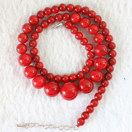 "artificial chains wholesalers NZ - artificial coral stone 6-14mm beautiful round beads diy charms chains red necklaces for women jewelry making 18""B666"