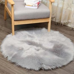 round seat covers Canada - Soft Artificial Sheepskin Rug Chair Cover Artificial Wool Warm Hairy Carpet Seat Pad Floor Mat 2 Colors 50*50CM