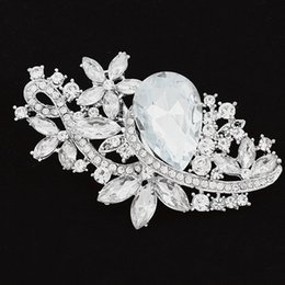 Large Lapel Suits Australia - Large Size Clear Rhinestone Crystal Diamante Bouquet Brooch 8cm*4.5cm Luxury Brooch Suit Lapel Pin Prom Party Pins Top Quality