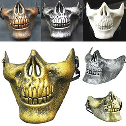Discount skull half face paintball mask - CS Mask Carnival Gift Scary Skull Skeleton Paintball Lower Half Face facemask warriors Protective Mask Halloween Evening