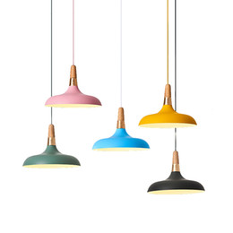 $enCountryForm.capitalKeyWord NZ - Modern simple LED pendant lamps colorful macaron metal with wood indoor lighting hanging lamp round kids room foyer bedroom lighting fixture