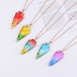 China European and American jewelry seven color natural jade pendant necklace arrow pendant necklace suppliers