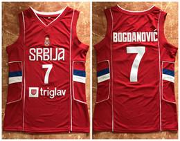 Toptan satış # 7 Bogdan Bogdanovic Takımı Sırbistan Retro Klasik Basketbol Forması Erkek Dikişli Formalar