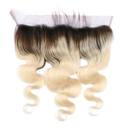 613 lace frontal UK - Two Tone 1b 613 Human Hair Ombre Body Wave Lace Frontal Closure 13x4 Full Frontals Dark Root Blonde Hair Lace Frontal Closure