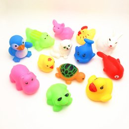 Toys Water Sound Baby NZ - New Multi-color Mini Rubber Ducks Animals Baby Bath Water Toys Kids Bath Vinyl Pinch Vocal Animals Car Sound Water Toys