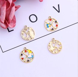bunny earrings NZ - 120pcs set Handmade DIY Factory Direct sale exquisite Alice Bunny round cartoon pendant earrings Bracelet Jewelry Accessories