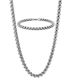 $enCountryForm.capitalKeyWord NZ - 24''+8.5'' Fashion Men's women 316L Stainless Steel Silver 5mm wide Cable Square Rolo Chain Necklace & Bracelet Jewelry Set