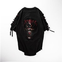 Black Shirt Loose Skull Australia - Hip hop trend maleT SHIRTS hole - loose short sleeved skull gauze shirt half sleeve dance