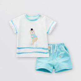 Venta al por mayor de 2018 vitalidad oso infantil versión coreana de hombres y mujeres ropa para niños ropa de verano de algodón camiseta de manga corta y pantalones cortos tw