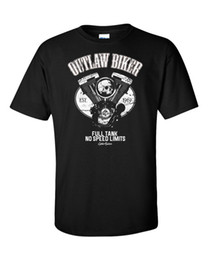 2018 Fashion Hot vendita 100% coon Outlaw Biker T-Shirt Moto Club MC Riders Racer Pistone Cranio Ace Chopper Tee shirt