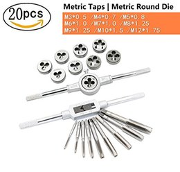 "Wrench Parts Canada - 20pcs NC Machine Screw Metric Tap and Die Bit Set | Adjustable Tap Die Wrench 1 16"" -1 2"", M3- M12 | Carbon Steel Tap & Die Sets M3-M12"