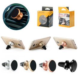 Wholesale Magnet Magnetic Car Holder Aluminium Metal Air Vent Bracket Degree Mobile Phone Stand For All Cellphones With Retail Package