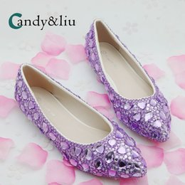 Purple Crystal Wedding Shoes Pointed Toe Shallow Boat Women Flats for Party  Banquet Pregnant Bridesmaid Bridal Performance a63959ec966b