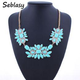 03c68194afb7 Seblasy Colorful Maxi Big Statement Patrones geométricos Flores de cristal  Collares Colgantes para mujeres Accesorios de estilo simple