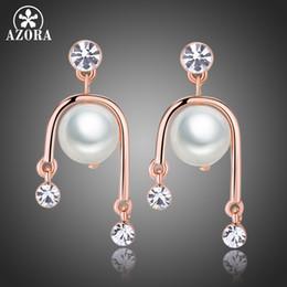 AZORA New Textured Jewelry Fashion Rose Gold Geometric Shape Shiny Big  Pearl Clear Rhinestone Dangle Earrings for Women TE0324 4843f80fbcfb