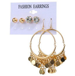$enCountryForm.capitalKeyWord NZ - Fashion round big circle fish hook earrings hot sale alloy disc tassel earrings 3pairs set crystal ear studs set