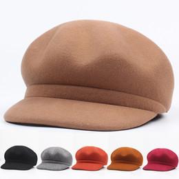 Art Church Australia - New Autumn Winter Wool Berets Octagonal Hat Art Simple and Colorful Pure Color Cap Newsboy Golf Cabbie Flat Peaked