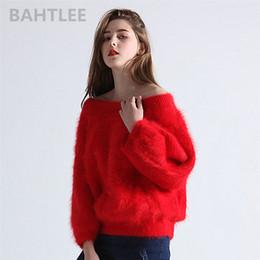 a1823cd7152f BAHTLEE 2018 Otoño invierno suéteres de conejo de angora para mujer con  cuello de slash Alta elasticidad mantener caliente loosefir rojo