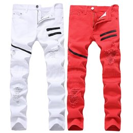 plus size clothes europe 2019 - leisure jeans, white, red holes, decoration, multi chain, no stretch, straight man, men's clothing, Europe and Amer