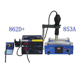 Discount rework hot air solder 862D+ & 853A 3 Functions in 1 Bga Rework Station 650W SMD Hot Air Gun + 75W Soldering Irons +600W Preheating Station
