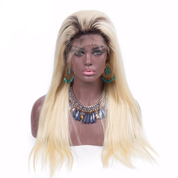 full lace wig 24 613 UK - Ombre Human Hair Wigs Two Tone 1b 613 Blonde Lace Front Wig Full Lace Blonde Hair Wig Peruvian Virgin Hair Side Part Wigs