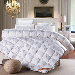 Discount down duvet king - Wholesale- Fashion style duck goose down duvet comforter quilting winter blankets down-proof cotton linens Single Queen