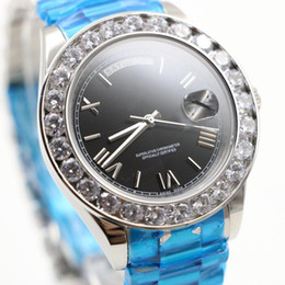 men blue diamond bezel watch 2019 - AAA Luxury Brand Watch Gold President Day-Date Diamonds Watch Men Stainless Mother Of Pearl Diamond Bezel Automatic Wris