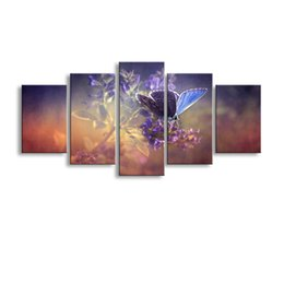 Butterfly Canvas Art UK - 5 pieces high-definition print butterfly flowers canvas oil painting poster and wall art living room picture PF5-008
