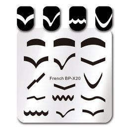 $enCountryForm.capitalKeyWord Australia - BORN PRETTY 1Pc Stainless Steel 6*6cm Square Nail Art Stamp Template 15 Different French Tips Design Image Plate