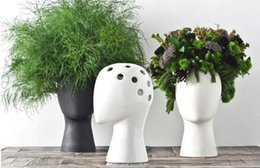 $enCountryForm.capitalKeyWord UK - Creative human head white black decorative bastract Ceramic Vase for HOme Decor Tabletop Vase red black white colors choice