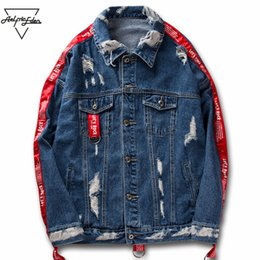 Ribbon Jackets Canada - Aelfric Eden Couple Clothes Jean Jacket 2017 Men Hi-street Ribbons Sleeve Ripped Hole Hip Hop Jacket Fashion Jackets Coats KT22