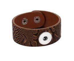 China 10Pcs 2018 Snap Button Jewelry Bracelet Wholesale Handmade Retro Punk Wide Leather Bracelets Fit 18mm Snap Buttons supplier wide chain bracelet suppliers