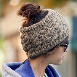 Discount stretchy ponytails - Women Warm Hat Winter Knitted Chunky Soft Slouchy Beanie High Bun Ponytail Stretchy Hat Gorro Feminino Free DHL
