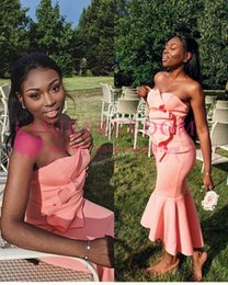 White busts online shopping - Simple Sexy Coral Stain Prom Dresses Strapless Mermaid Ruffles Bust Hi Low Formal Evening Occasion Dresses Custom Made