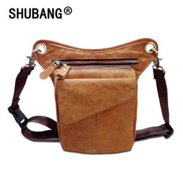 New Genuine Leather Men s Leg Waist Pack Multi-functions Phone Bag Vintage  Shoulder Kit Casual Messenger Bag 211-3 2f4406177a9be