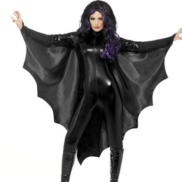 Wholesale Halloween s long sleeved black bat king wing jumpsuit theme party dresses up character bar stage cosplay costumes