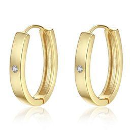 11fcea83450e Unisex Diseño Simple Hombres Mujeres Pendientes Real 18 K Oro Amarillo Oro  Blanco Plateado CZ Pendientes Hoop Huggie para Hombres Mujeres Regalos  bonitos