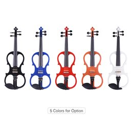 basswood ebony fingerboard 2019 - ammoon Full Size 4 4 Violin Electric Silent Violin Fiddle Ebony Fingerboard Pegs Chin Rest Tailpiece with Bow Case Tuner