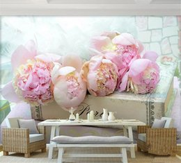sticker books 2020 - 3d room wallpaper custom mural non-woven wall sticker 3 d Books on blooming pink flowers painting photo 3d wall murals w