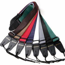 Bass guitar red Black online shopping - High Quality Acoustic Electric Guitar Strap Leather Bass Guitar Strap Black Brown Blue Red Strap For Guitar Musical Instruments