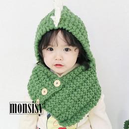 6bb5e8b8c8a Cute Girls Wool Hat NZ - Monsisy Winter Kid Hat Girl Boy Dinosaur Cap Scarf  Set