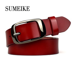 women red belts Australia - [SUMEIKE] Red Leather Belts For Women Female Belts Cummerbunds S18101806