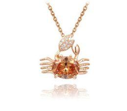 $enCountryForm.capitalKeyWord UK - Romantic women jewelry rose gold crab necklace pendant Valentine's Day love girl Birthday Christmas festival party