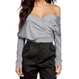 Off Shoulder Blouse Cotton Australia - Fashion Women Blouse Shirt Back Hollow Out Slash Neck Crop Tops Off Shoulder Jumper Long Sleeve Spring Summer Short Tops Female