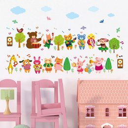 nursery wall stickers for boys Australia - Wholesale Cartoon Animals Music Band Wall Stickers for Kids Boys Girls Room Nursery DIY Home Decor Wallpaper Art