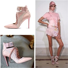 Wholesale Light Pink Lace Up Booties Pointed Toe Ankle Cuff Boots Real Leather Women Booties High Heels Shoes Woman Boots Runway Shoes