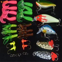 $enCountryForm.capitalKeyWord NZ - 27pcs fishing hard soft lures baits sets in box Artificial lures kits accessories VIB minnow worm crankbait pencile jid hooks
