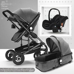 Wholesale High landscape in1 stroller Seated reclining two way folding baby stroller Newborn stroller Safety seat baby basket