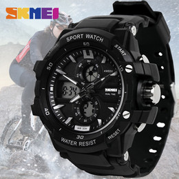 Sports Watches Waterproof Wristwatches Luxury Digital Canada - SKMEI Sport Watch Men Digital LED Outdoor Waterproof Dual Display Wristwatches Military Army Top Brand Luxury Watches 0990
